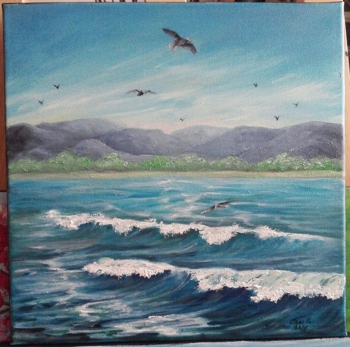 """Ocean Waves Seagulls Mountains Seascape"" original fine art by Camille Morgan"