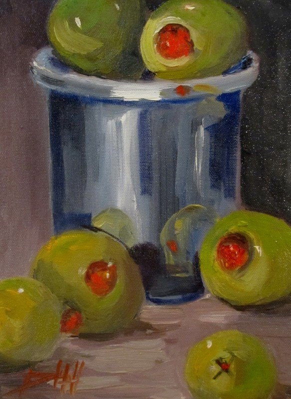 """Olive Still Life"" original fine art by Delilah Smith"