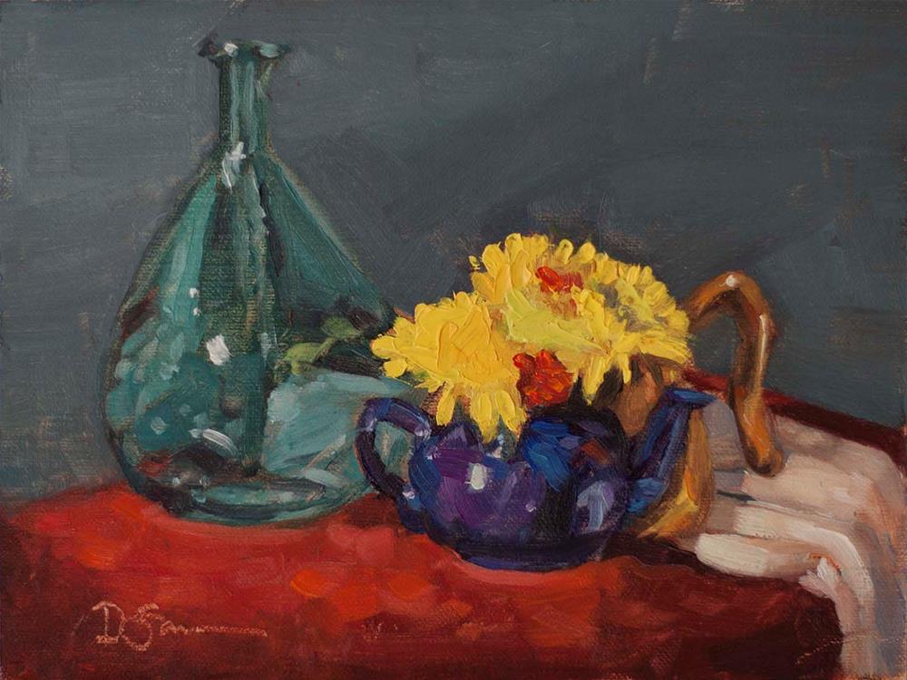 """Mums with a Purple Teapot"" original fine art by Deborah Savo"