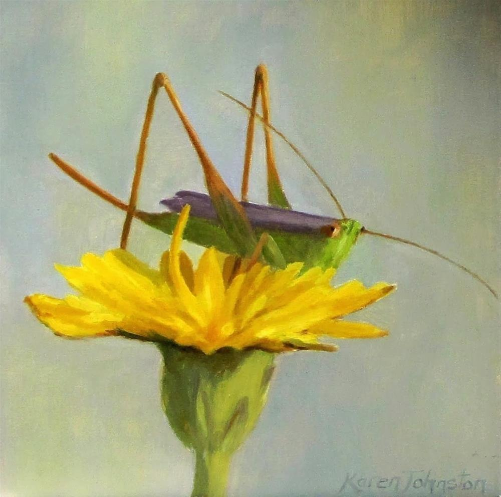 """Little Cricket"" original fine art by Karen Johnston"
