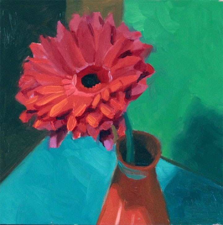 """""""One Pink Daisy"""" original fine art by Nealy May Riley"""
