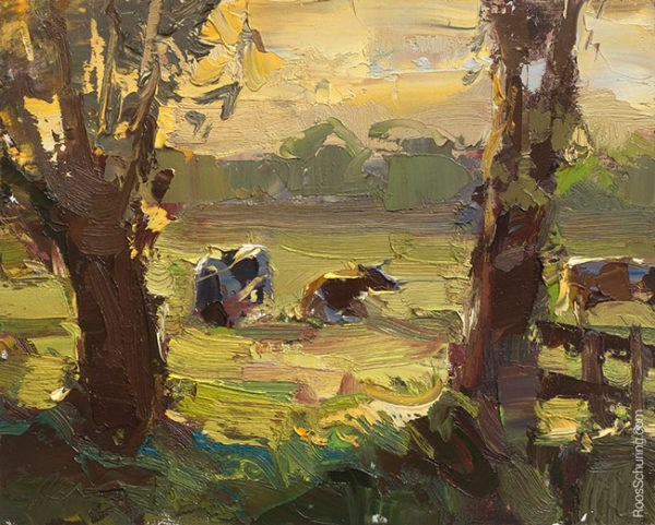 """""""Painting Cows in Evening Sun"""" original fine art by Roos Schuring"""