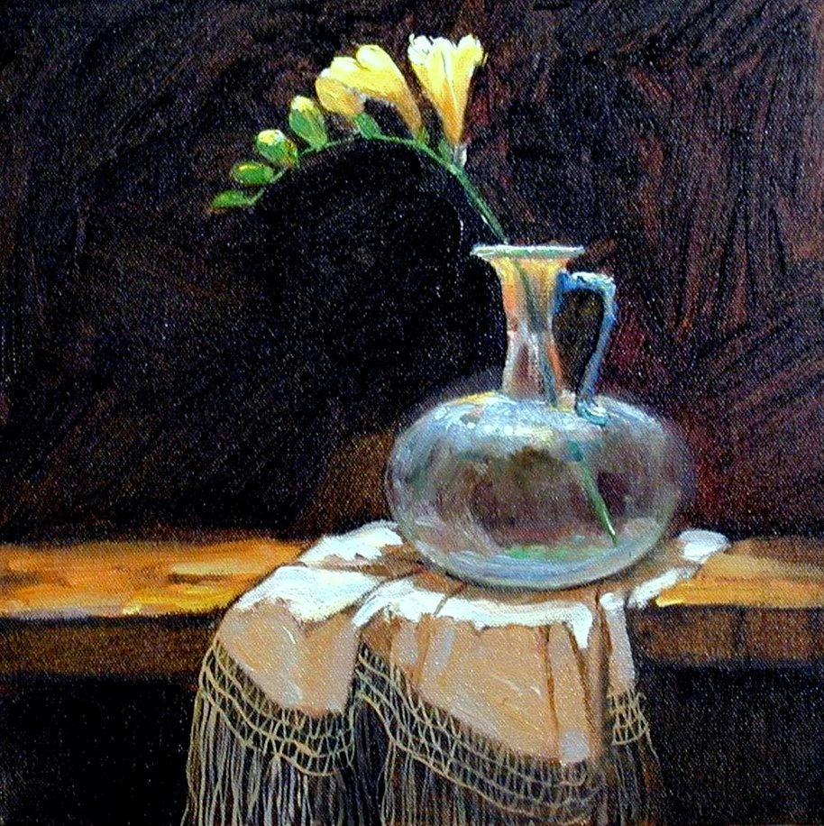 """Freesia with Ancient Glass"" original fine art by Julie Ford Oliver"