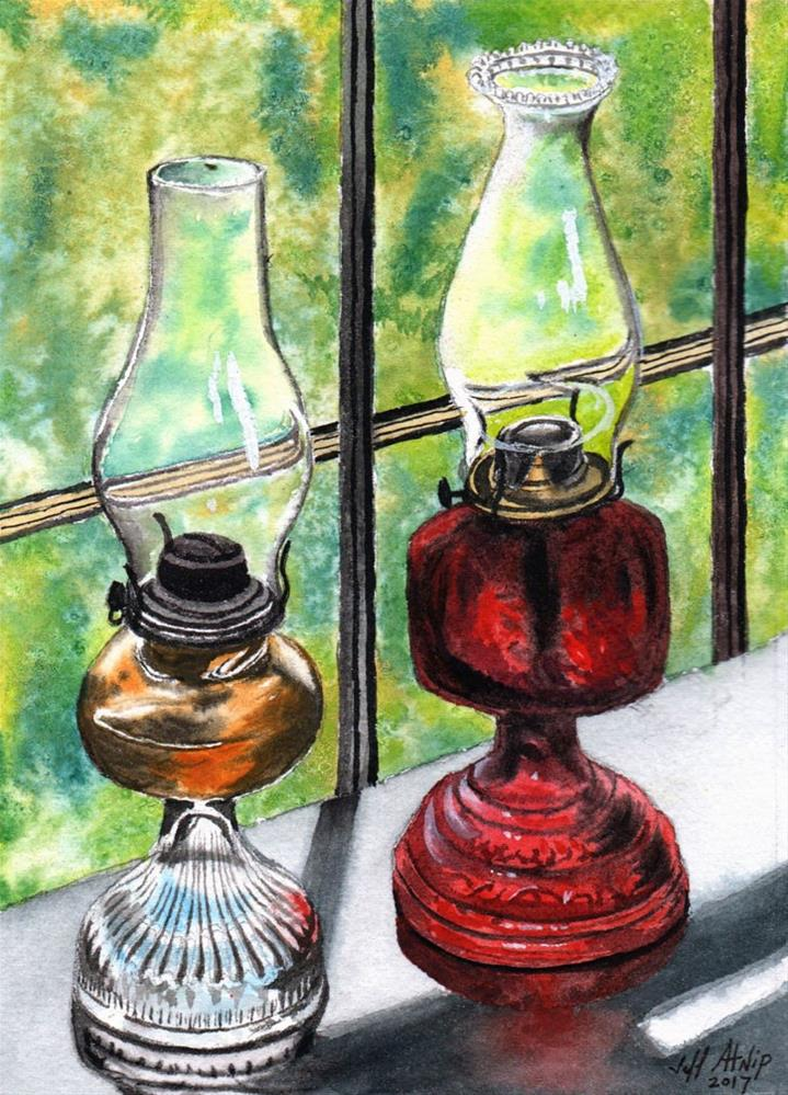 """Two Lamps"" original fine art by Jeff Atnip"
