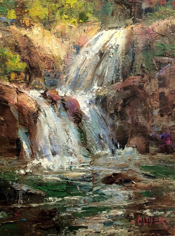"""""""Falls At Yellowstone"""" original fine art by Julie Ford Oliver"""