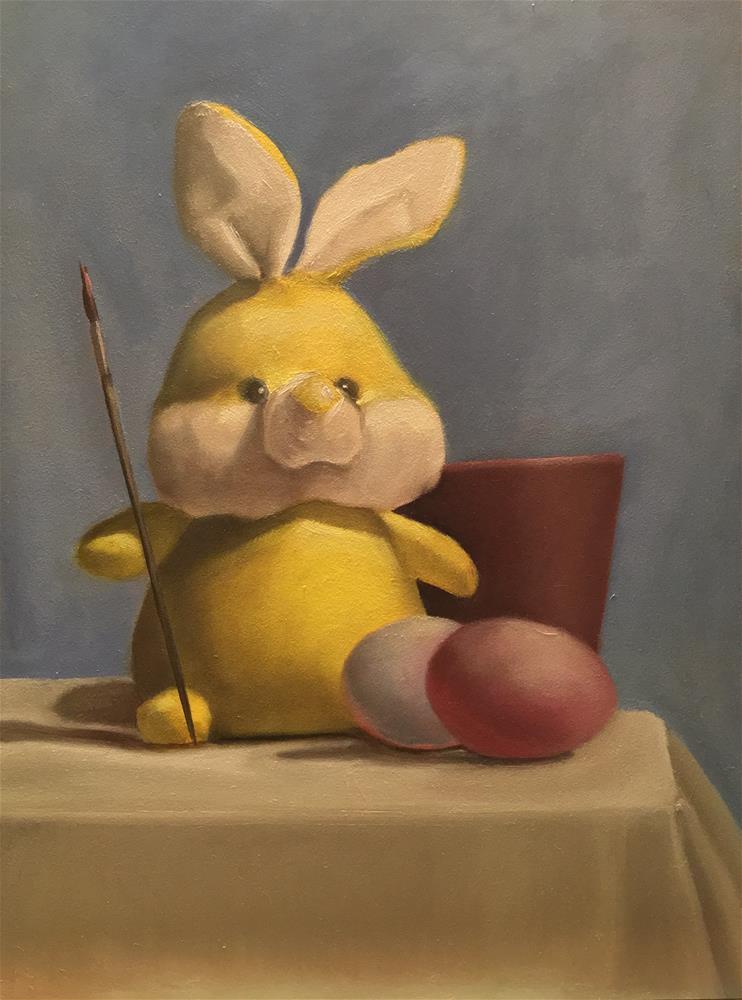 """Bunny Painter"" original fine art by Kimberly Tingelstad"