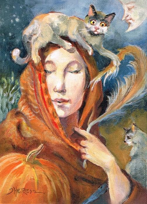 """The Pumpkin Lady"" original fine art by Theresa Taylor Bayer"