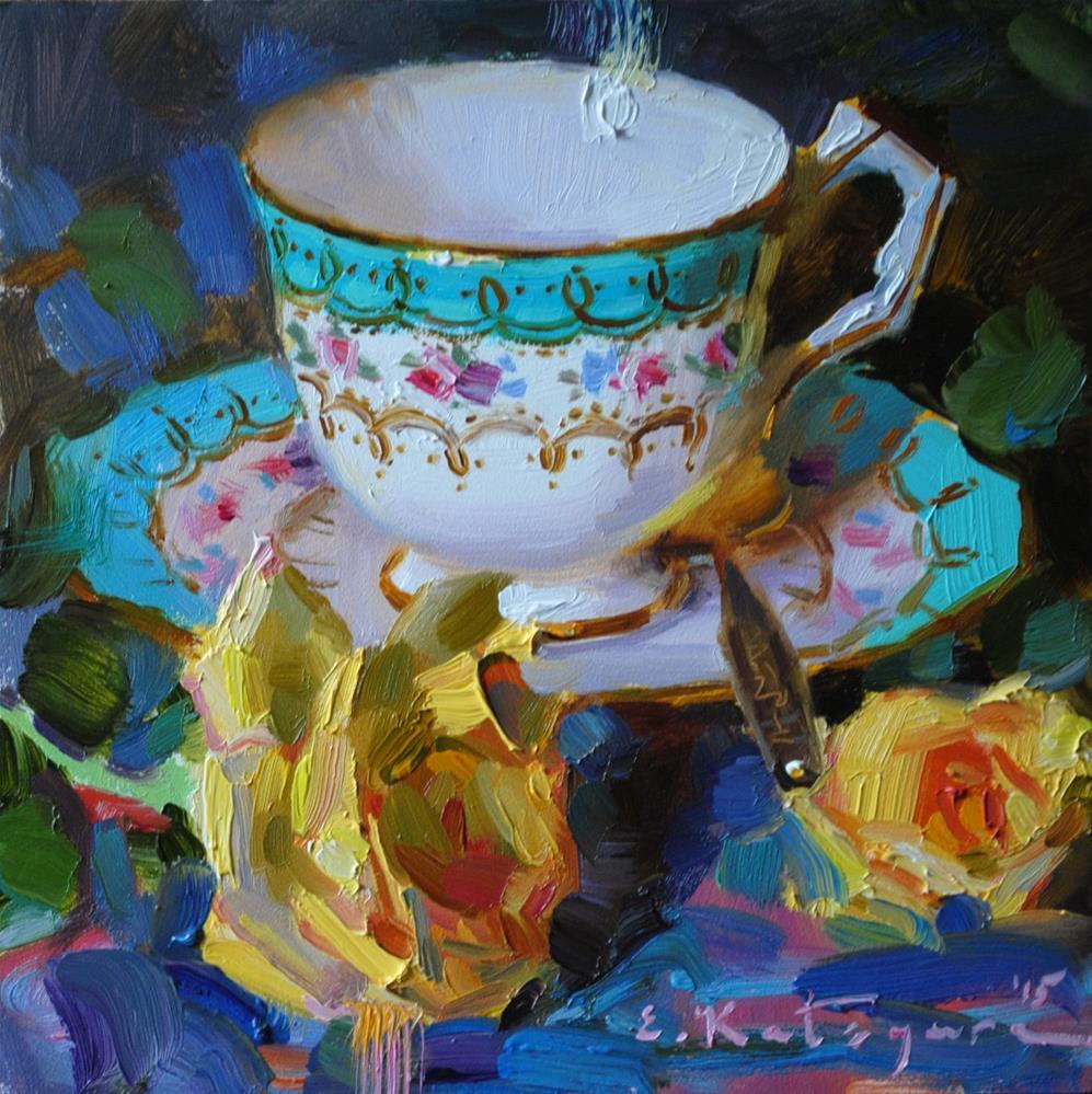 """Turquoise Teacup and Roses"" original fine art by Elena Katsyura"