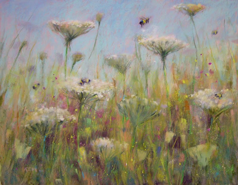 """Resolving a Watercolor Underpainting...Wildflower Pastel Demo"" original fine art by Karen Margulis"