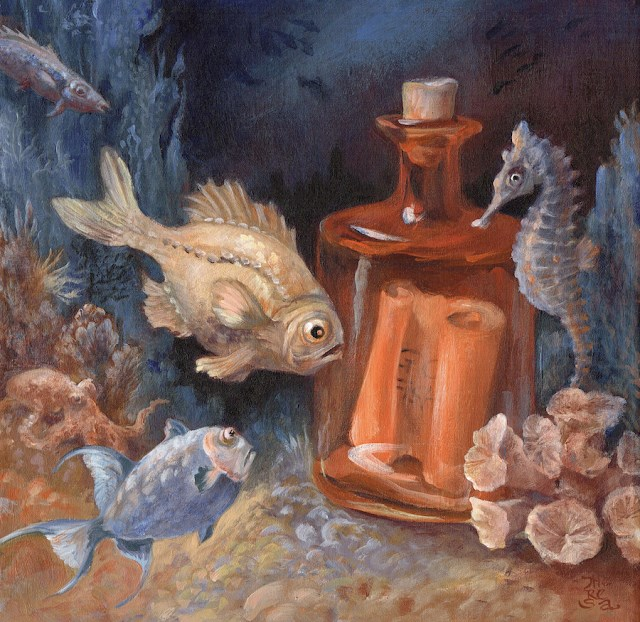 """Message in a Bottle, FRAMED"" original fine art by Theresa Taylor Bayer"