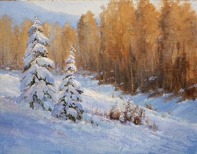 """First Snow"" original fine art by Bonnie Bowne"