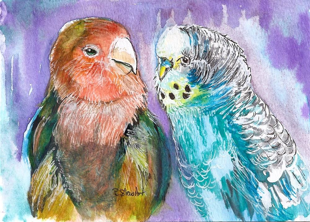 """5x7 Lovebird and Budgie The Odd Couple Birds Watercolor by Penny StewArt"" original fine art by Penny Lee StewArt"
