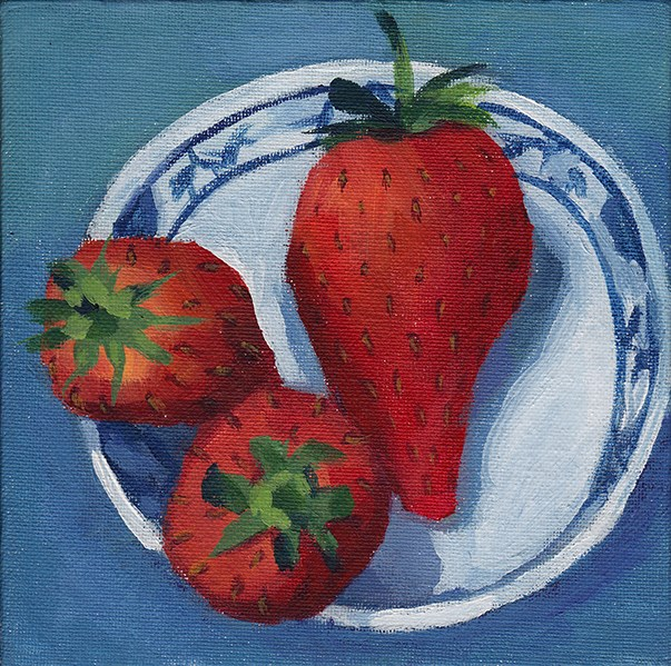 """Three Strawberries"" original fine art by J M Needham"