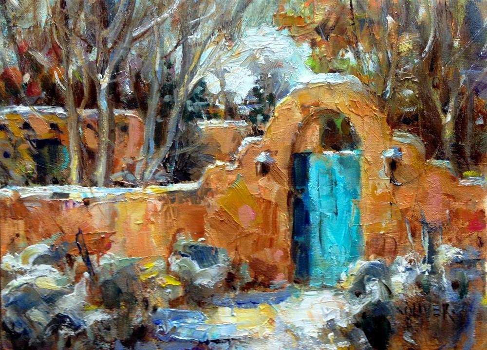 """""""Santa Fe Adobe and Development Steps."""" original fine art by Julie Ford Oliver"""