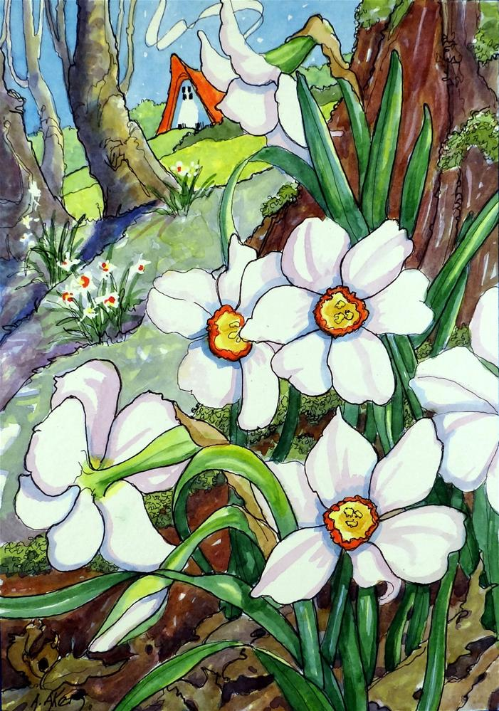 """""""Narcissus poeticus-wild Paperwhites Storybook Cottage Series"""" original fine art by Alida Akers"""