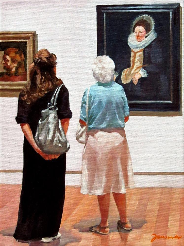 """""""Ladies Moment--Painting People in Museum/Gallery Series"""" original fine art by Joanna Bingham"""