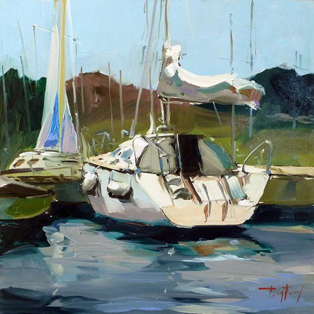 """""""Segelyacht"""" original fine art by Jurij Frey"""