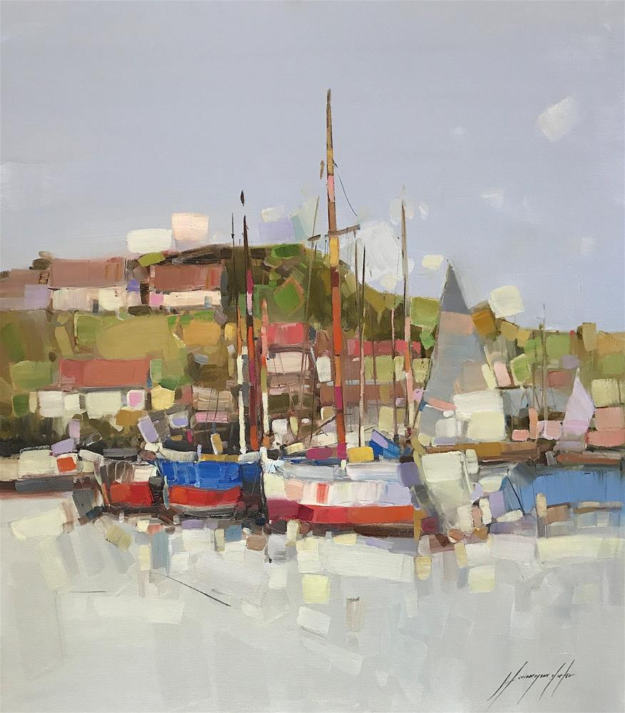 """""""Harbor, Contemporary art, Oil painting on canvas"""" original fine art by V Y"""