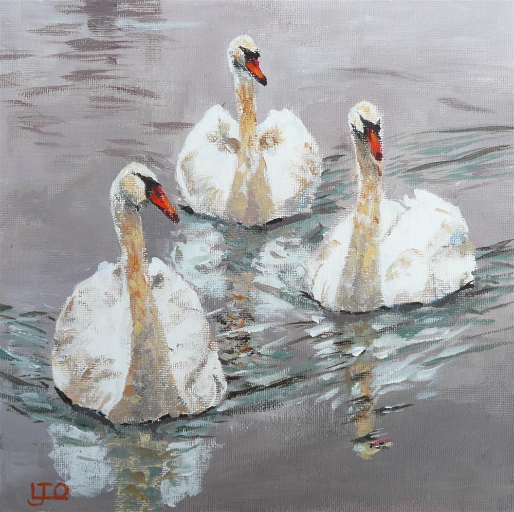 """""""Swanning Around"""" original fine art by Leanne Owen"""