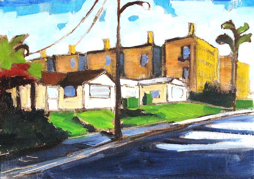 """""""Morning Street in Hillcrest- Painting of San Diego"""" original fine art by Kevin Inman"""
