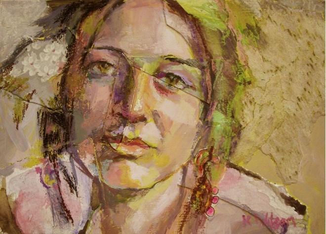 """""""Flowers in my Hair"""" original fine art by Katie Wilson"""