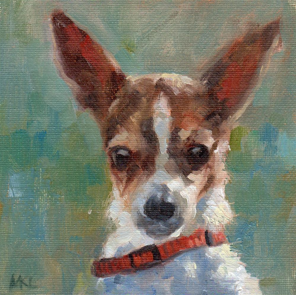 """Brown and White Chihuahua"" original fine art by Marlene Lee"