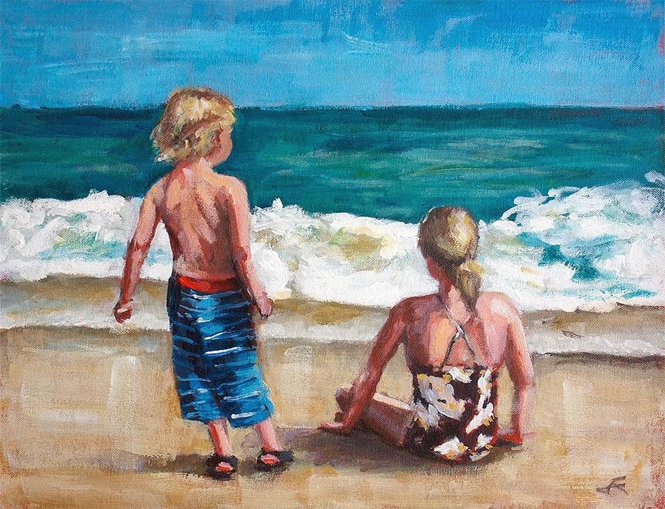 """At the Beach"" original fine art by J. Farnsworth"