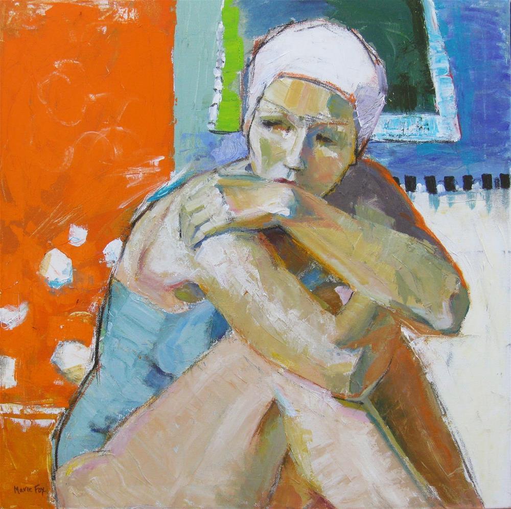 """Swimmer, woman by pool, female figuration, contemporary figure painter, figurative female, contempla"" original fine art by Marie Fox"