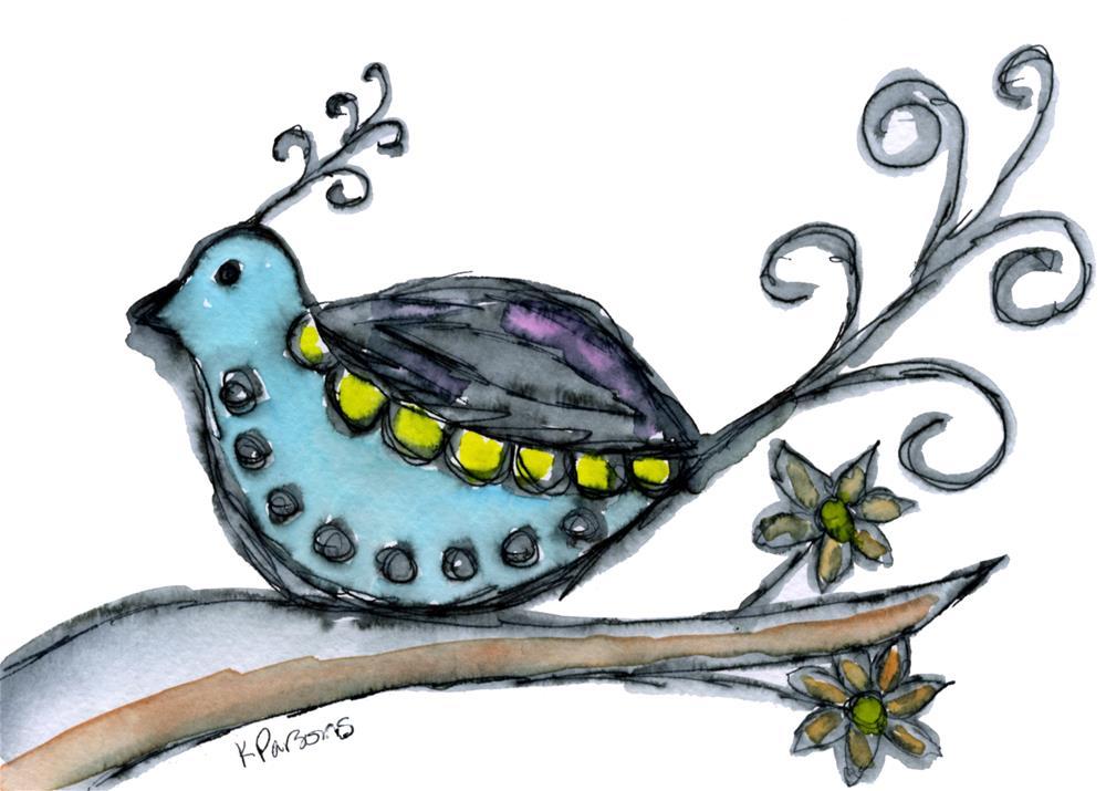 """""""Fancy Curly Bird"""" original fine art by Kali Parsons"""