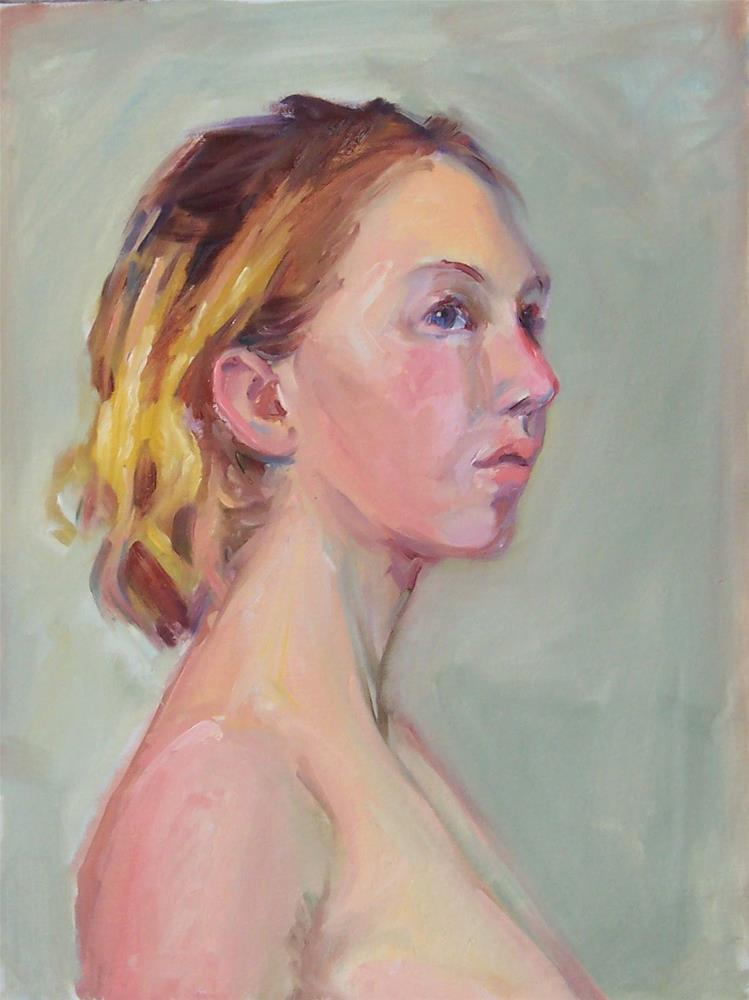 """Chelsea in profile,oil on canvas,portrait,16x12,priceNFS"" original fine art by Joy Olney"