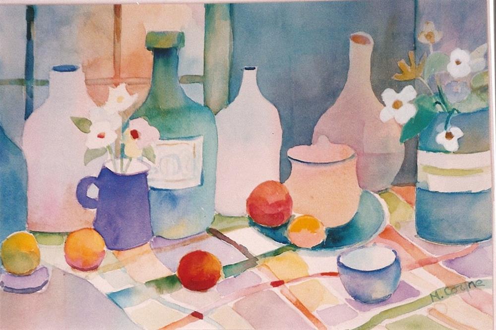 """""""bottles and fruit"""" original fine art by meribeth coyne"""