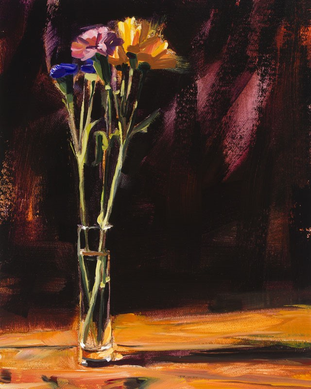 """""""Pink Yellow & Blue Flowers"""" original fine art by Chris Breier"""