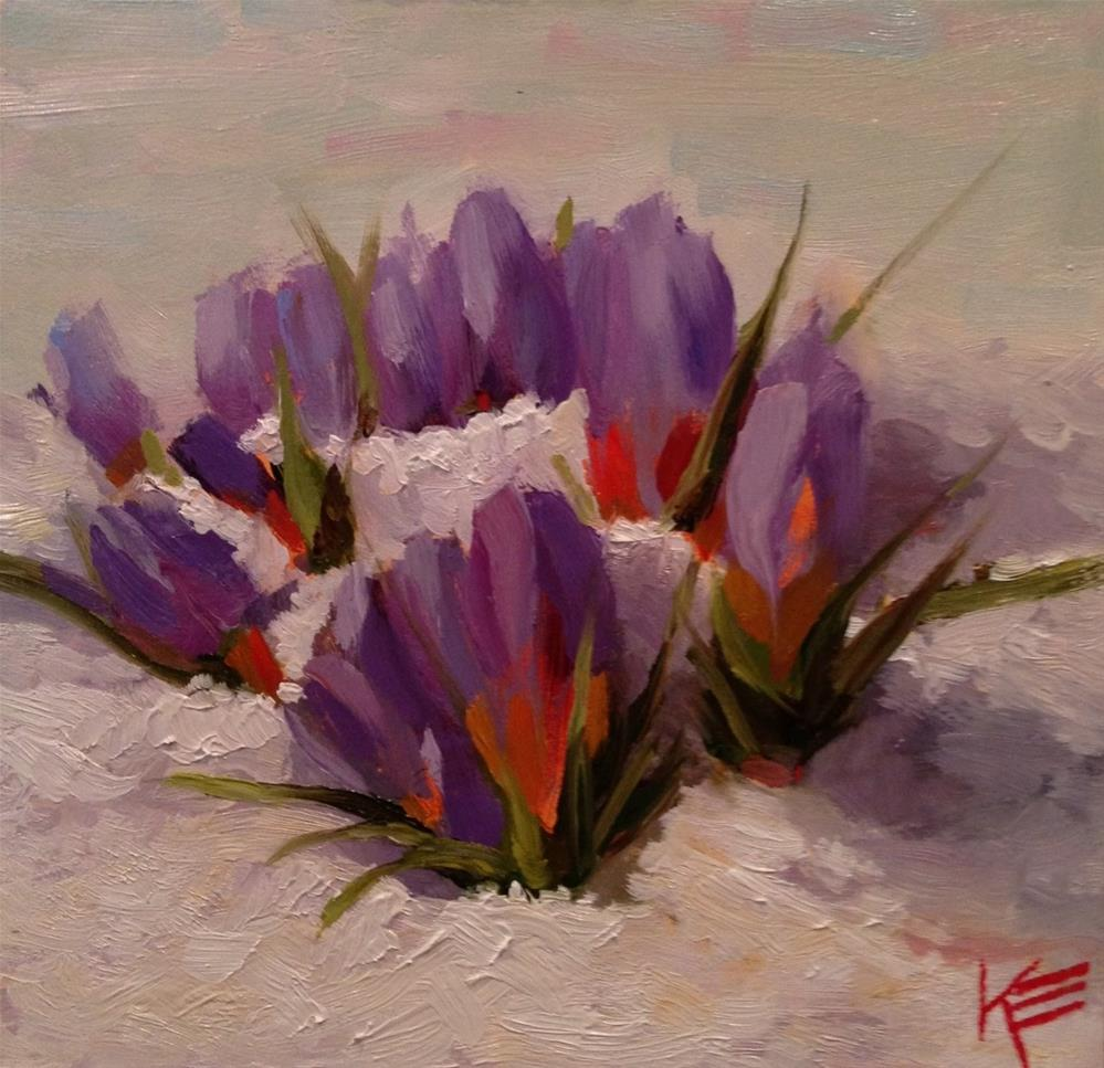 """Crocuses"" original fine art by Krista Eaton"