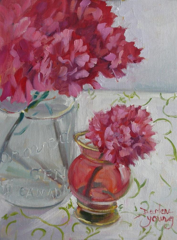 """""""838 Still Life With Carnations, oil on board, 8x10"""" original fine art by Darlene Young"""