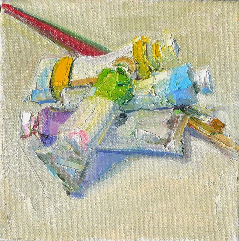 """""""Brushes and Tubes,still life, oil on canvas,6x6,price$200"""" original fine art by Joy Olney"""