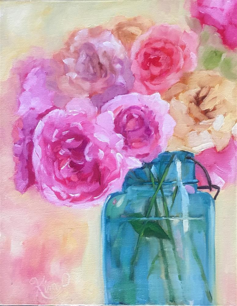 """""""Peonies in Blue Jar"""" original fine art by Kim Peterson"""