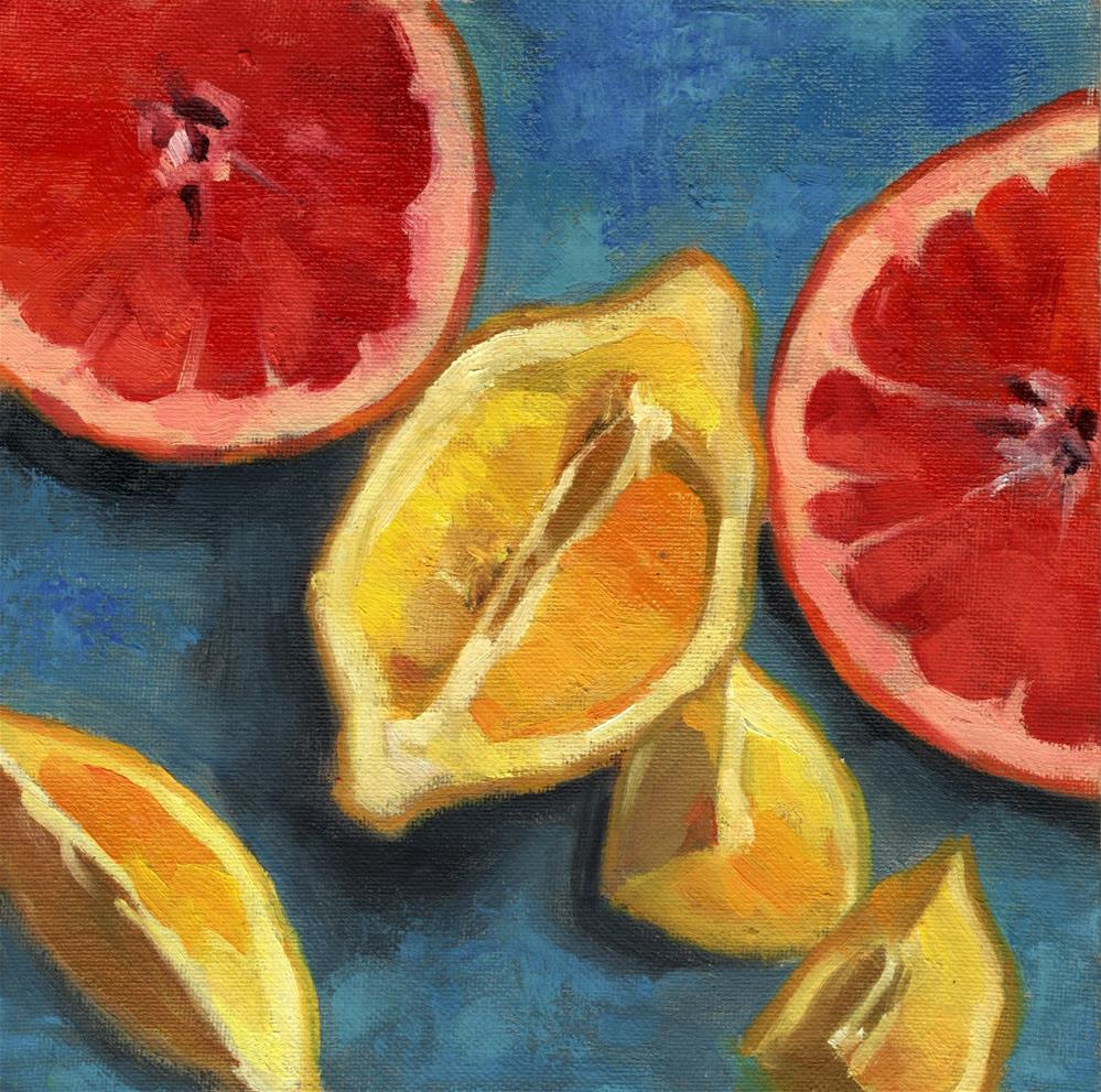 """Grapefruit and Lemons Halves 2018"" original fine art by Marlene Lee"