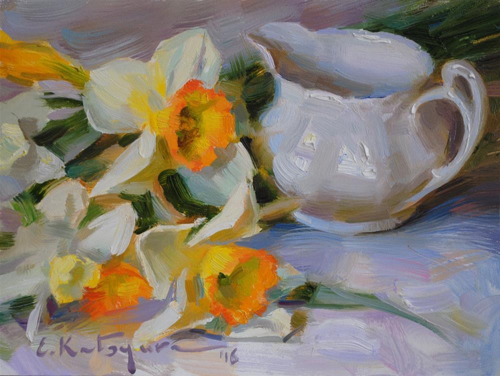 """White Creamer and Daffodils"" original fine art by Elena Katsyura"