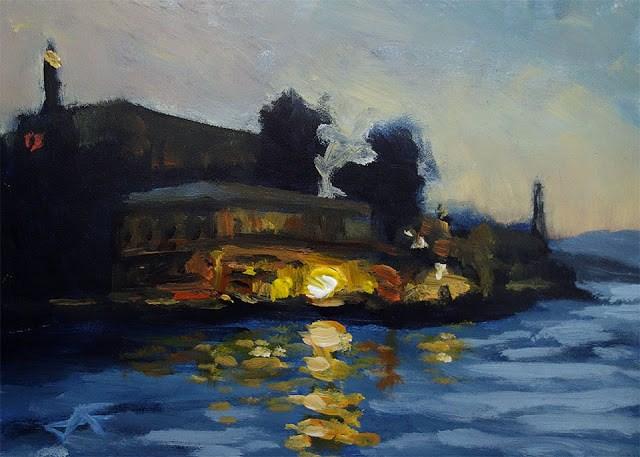 """Leaving Alcatraz"" original fine art by J. Farnsworth"