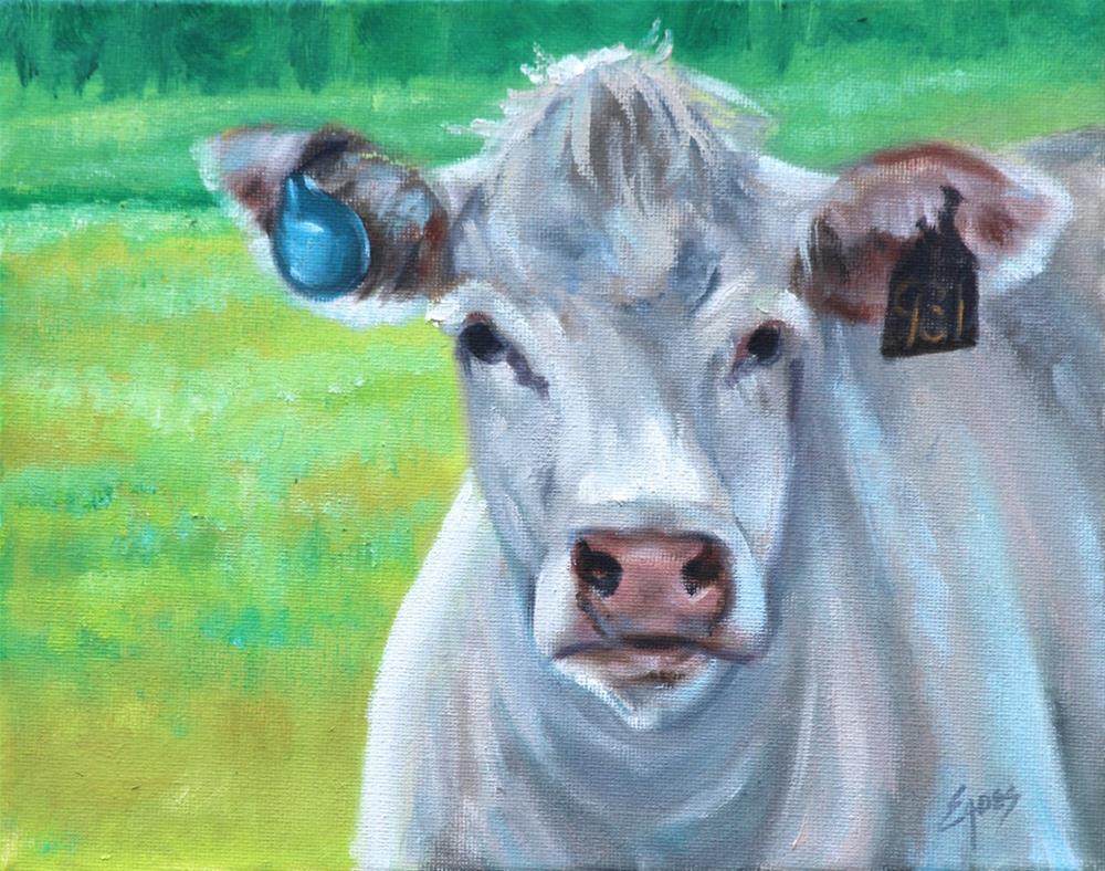 """White Cow Study"" original fine art by Linda Eades Blackburn"