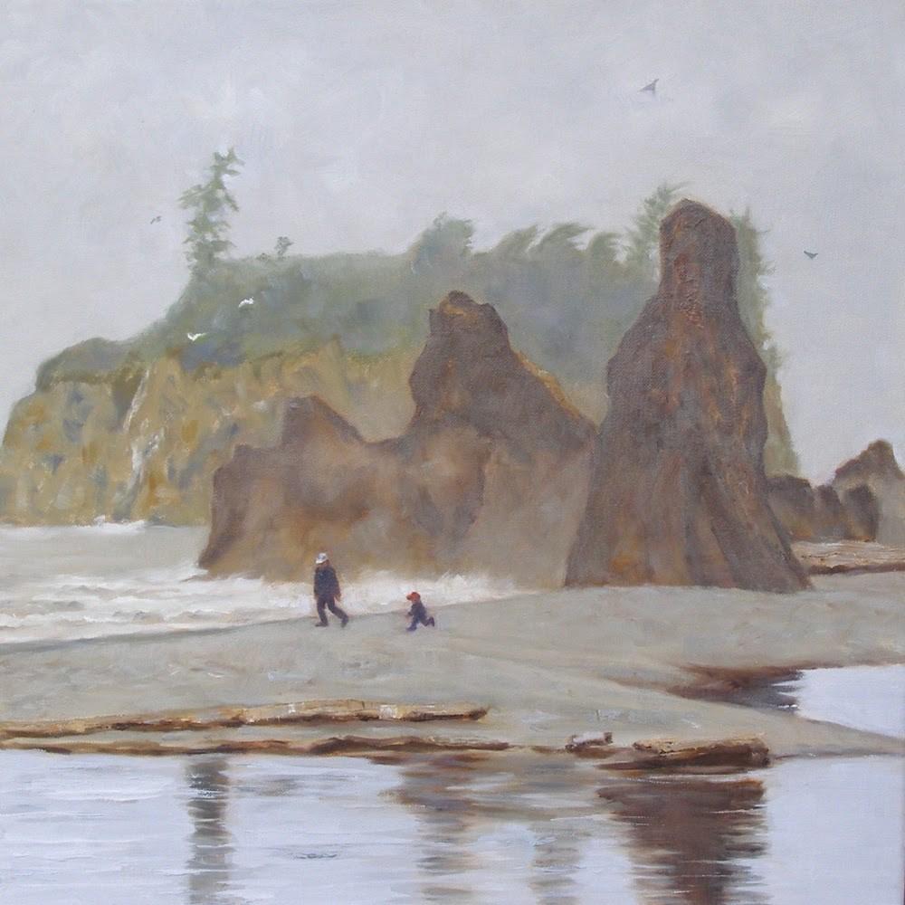 """Ruby Beach, 20x20 Oil on Canvas"" original fine art by Carmen Beecher"