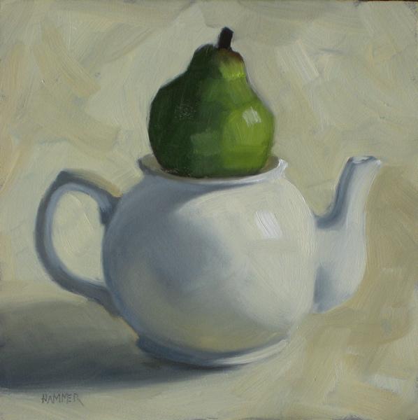 """I'm a little teapot 6x6 oil"" original fine art by Claudia Hammer"