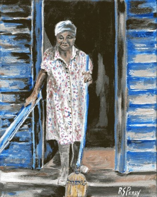 """""""Gullah Woman with Broom """" original fine art by R. S. Perry"""
