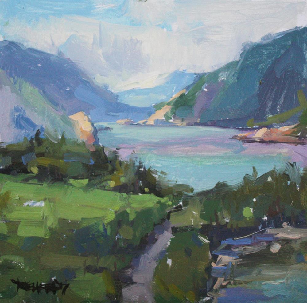 """Plein Air Painting of The Columbia Gorge"" original fine art by Cathleen Rehfeld"