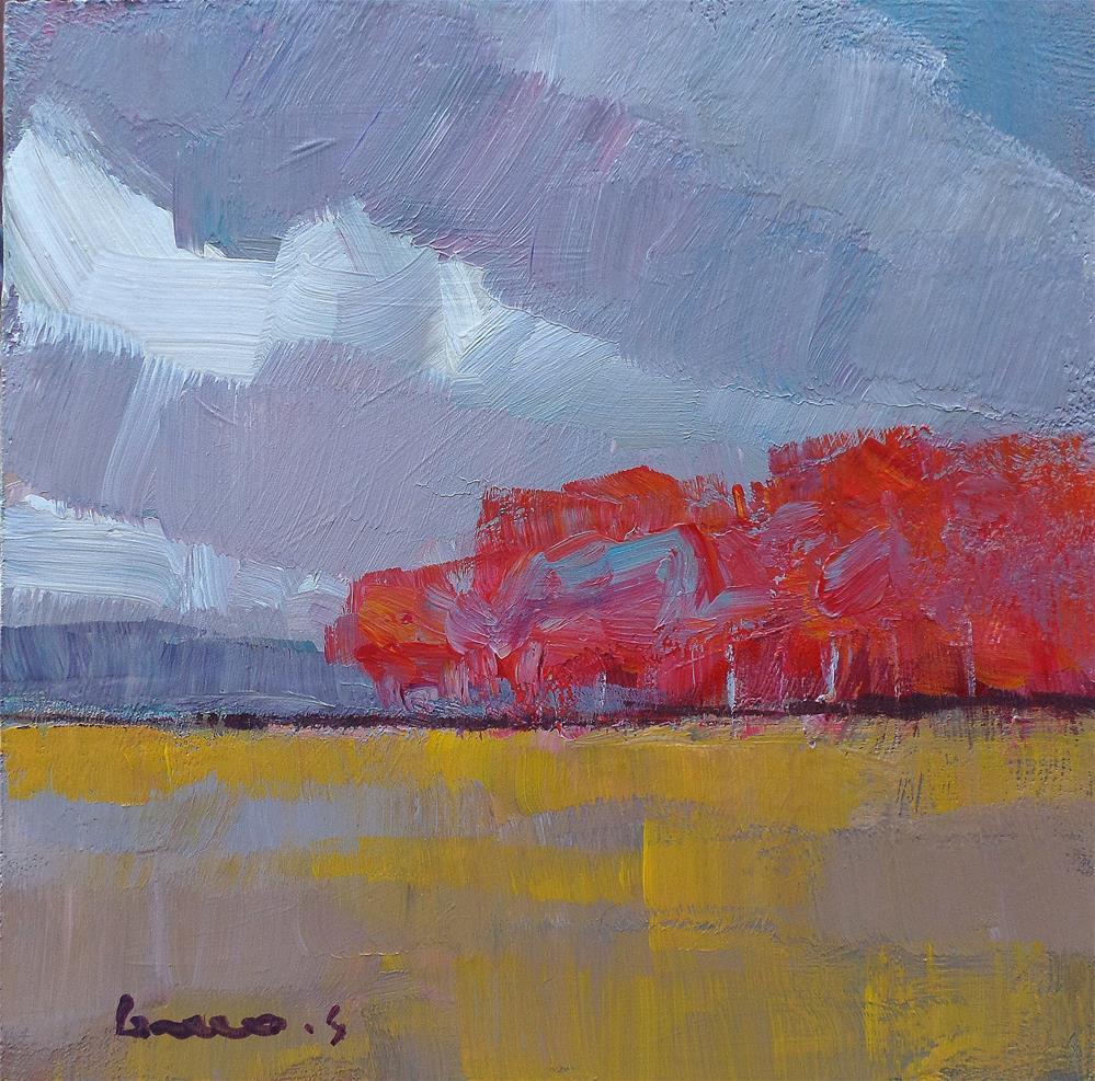 """Red trees"" original fine art by salvatore greco"