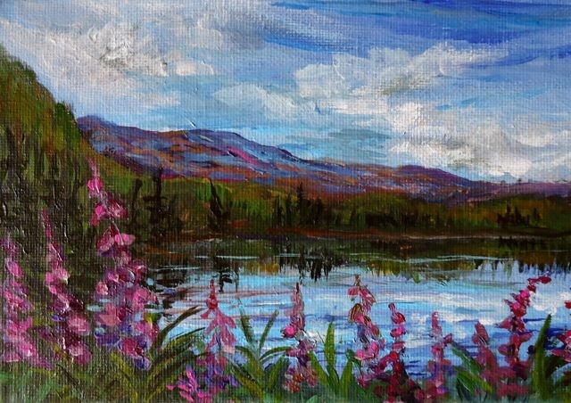 """""""Fireweed at LIttle Salmon"""" original fine art by Jackie Irvine"""