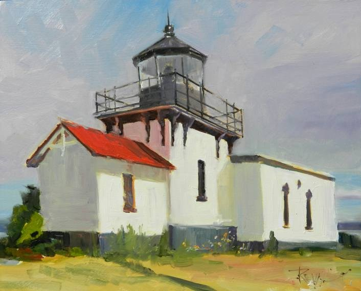 """Point No Point Light House plein air, light house painting by Robin Weiss"" original fine art by Robin Weiss"