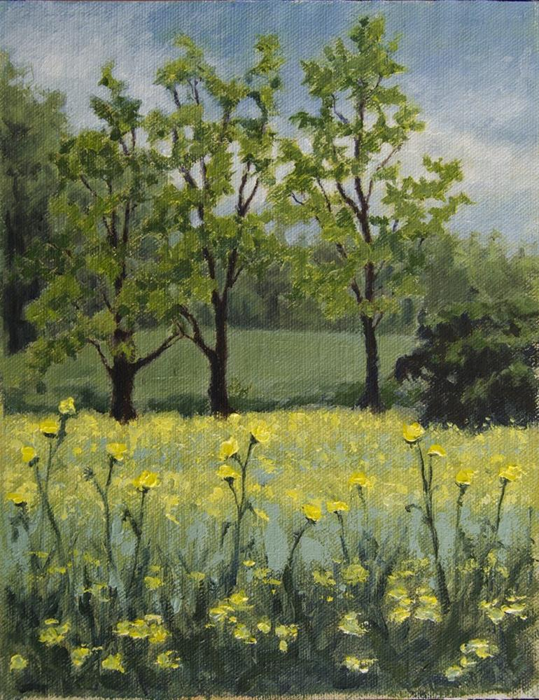 """""""Yellow Flowers and Trees – April 2016"""" original fine art by Rachel Steely"""