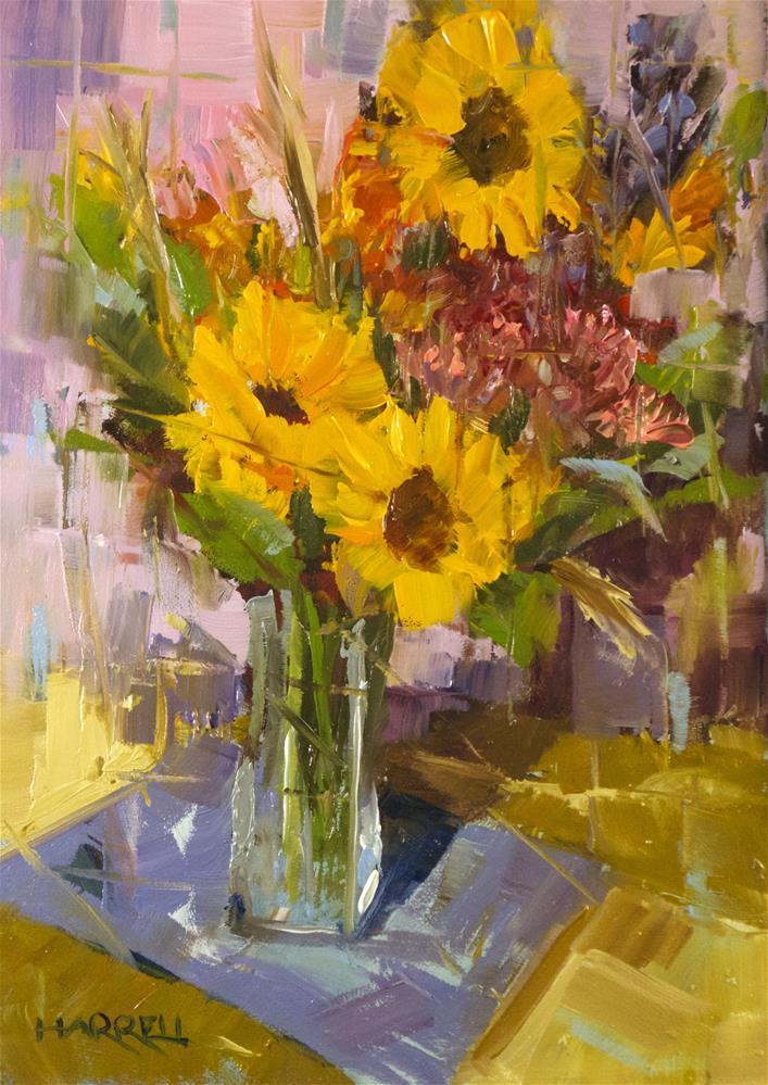 """Sunflower Bouquet"" original fine art by Sue Harrell"
