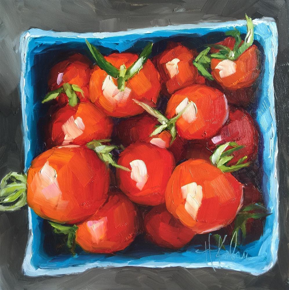 """Juicy Tomatoes"" original fine art by Hallie Kohn"
